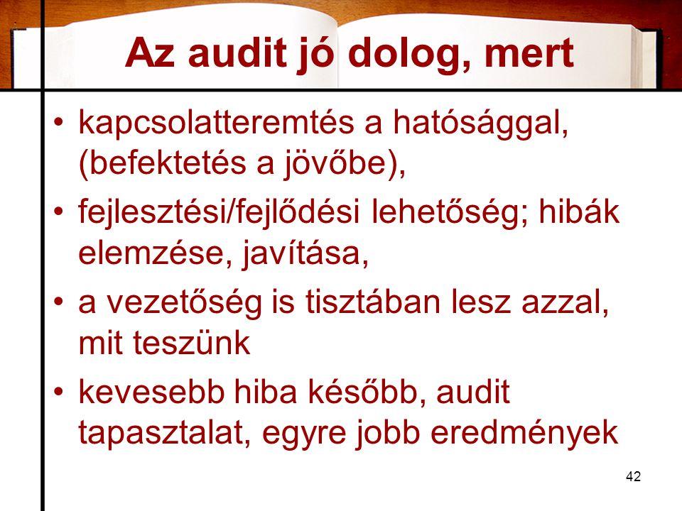 Az audit jó dolog, mert kapcsolatteremtés a hatósággal, (befektetés a jövőbe), fejlesztési/fejlődési lehetőség; hibák elemzése, javítása,