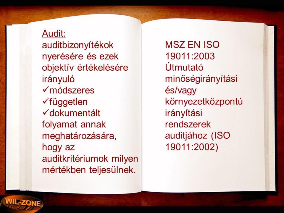Audit: auditbizonyítékok nyerésére és ezek objektív értékelésére irányuló. módszeres. független. dokumentált.