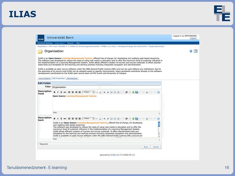 ILIAS Tanulásmenedzsment - E-learning