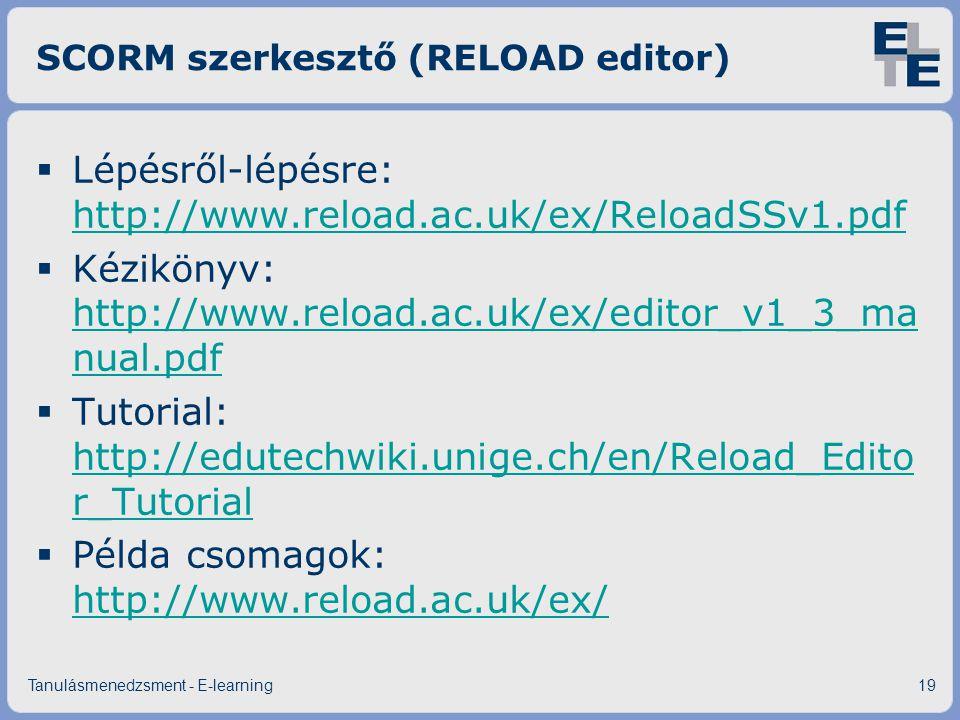 SCORM szerkesztő (RELOAD editor)