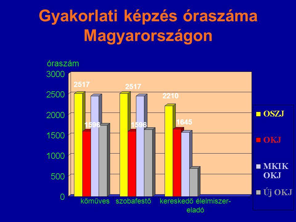 Gyakorlati képzés óraszáma Magyarországon