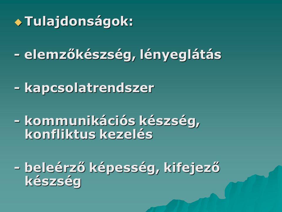 Tulajdonságok: - elemzőkészség, lényeglátás. - kapcsolatrendszer. - kommunikációs készség, konfliktus kezelés.