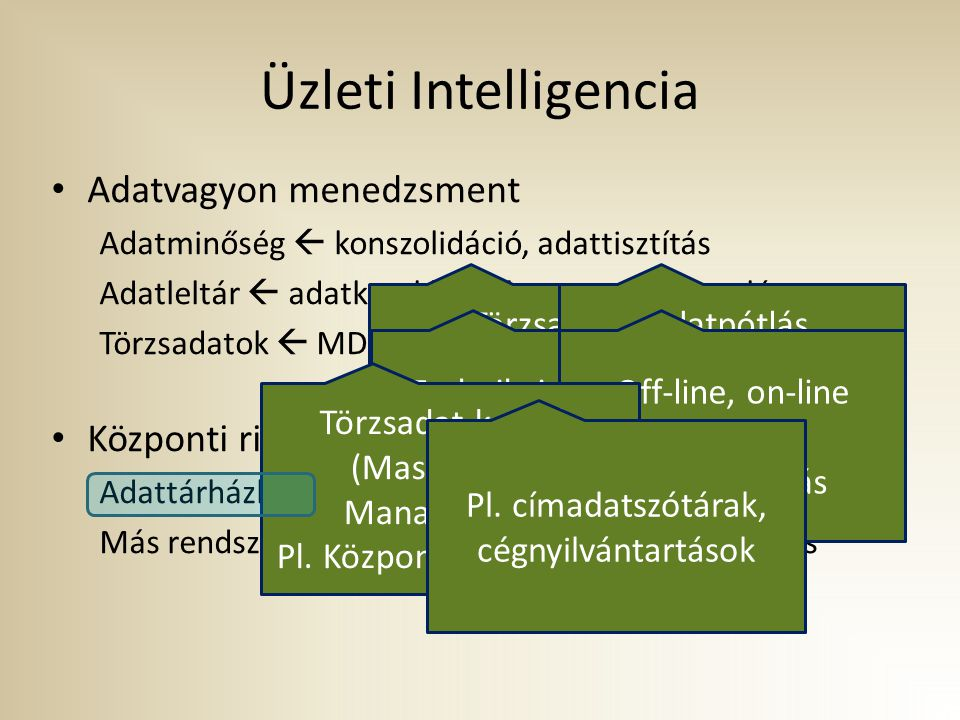Üzleti Intelligencia Adatvagyon menedzsment