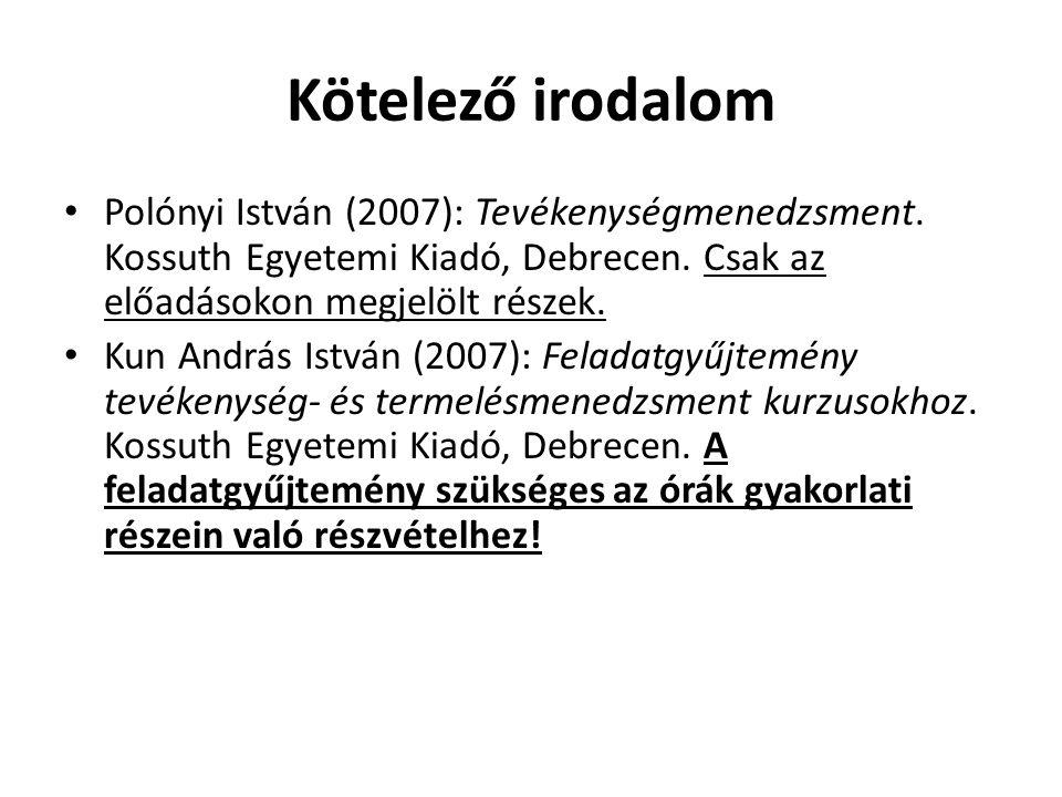 Kötelező irodalom Polónyi István (2007): Tevékenységmenedzsment. Kossuth Egyetemi Kiadó, Debrecen. Csak az előadásokon megjelölt részek.