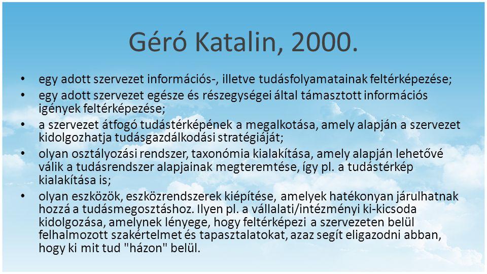 Géró Katalin, 2000. egy adott szervezet információs-, illetve tudásfolyamatainak feltérképezése;