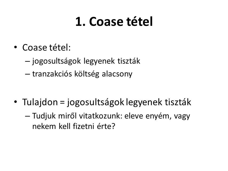 1. Coase tétel Coase tétel: Tulajdon = jogosultságok legyenek tiszták