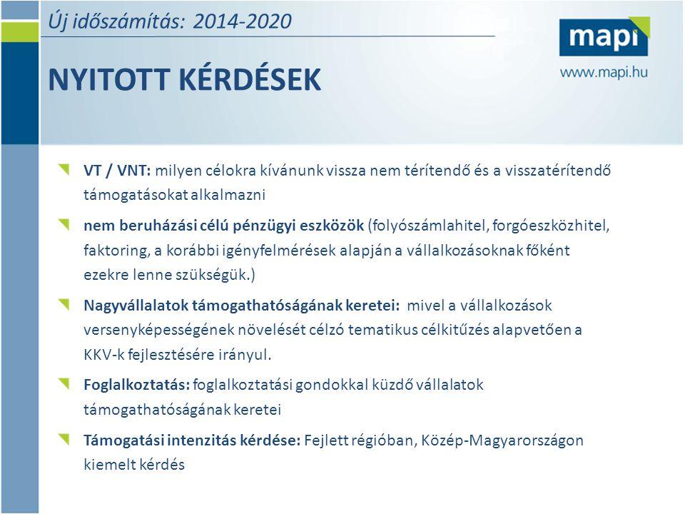 NYITOTT KÉRDÉSEK Új időszámítás: 2014-2020