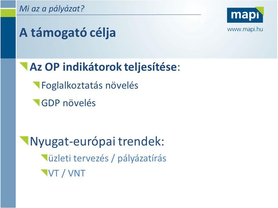 A támogató célja Nyugat-európai trendek: