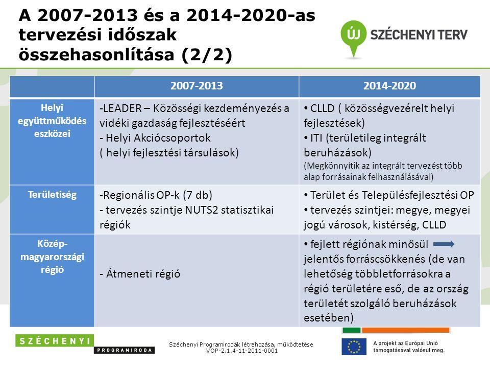 A 2007-2013 és a 2014-2020-as tervezési időszak összehasonlítása (2/2)
