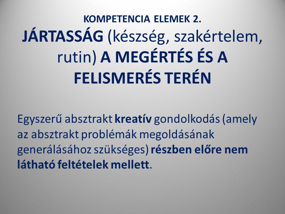 KOMPETENCIA ELEMEK 2. JÁRTASSÁG (készség, szakértelem, rutin) A MEGÉRTÉS ÉS A FELISMERÉS TERÉN