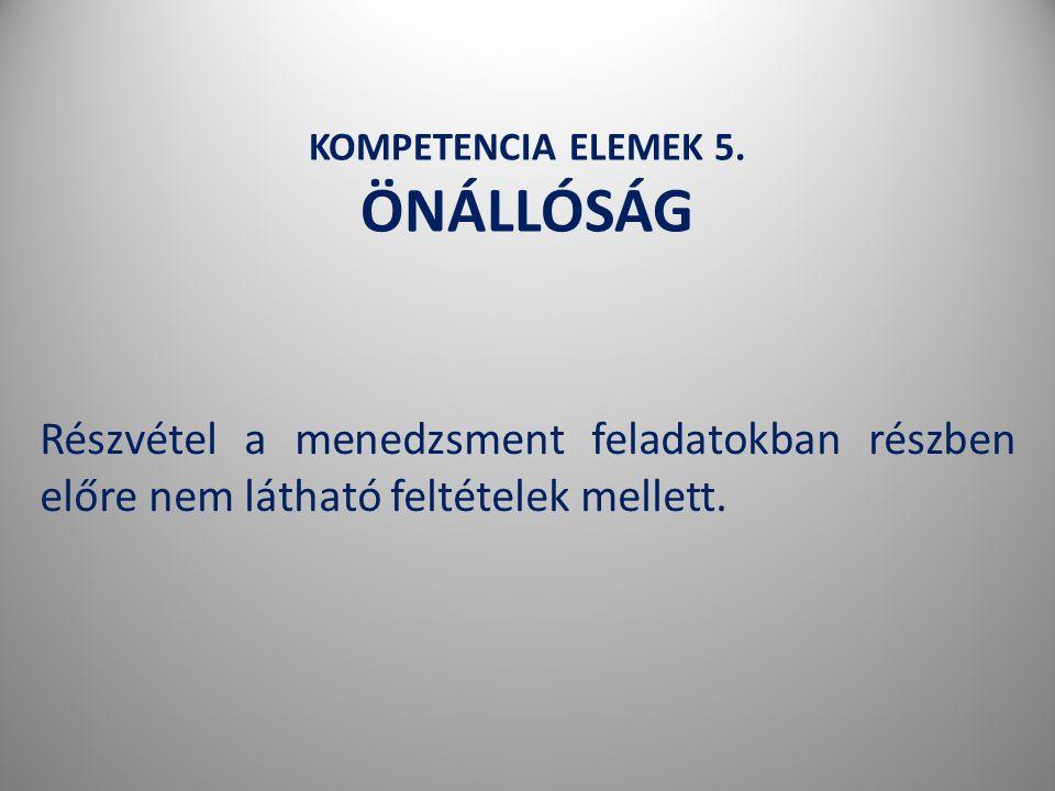 KOMPETENCIA ELEMEK 5. ÖNÁLLÓSÁG