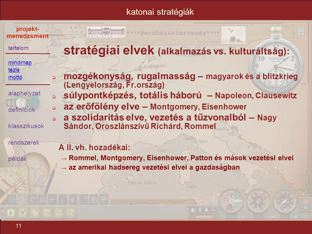 stratégiai elvek (alkalmazás vs. kulturáltság):