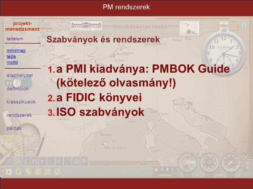 a PMI kiadványa: PMBOK Guide (kötelező olvasmány!) a FIDIC könyvei