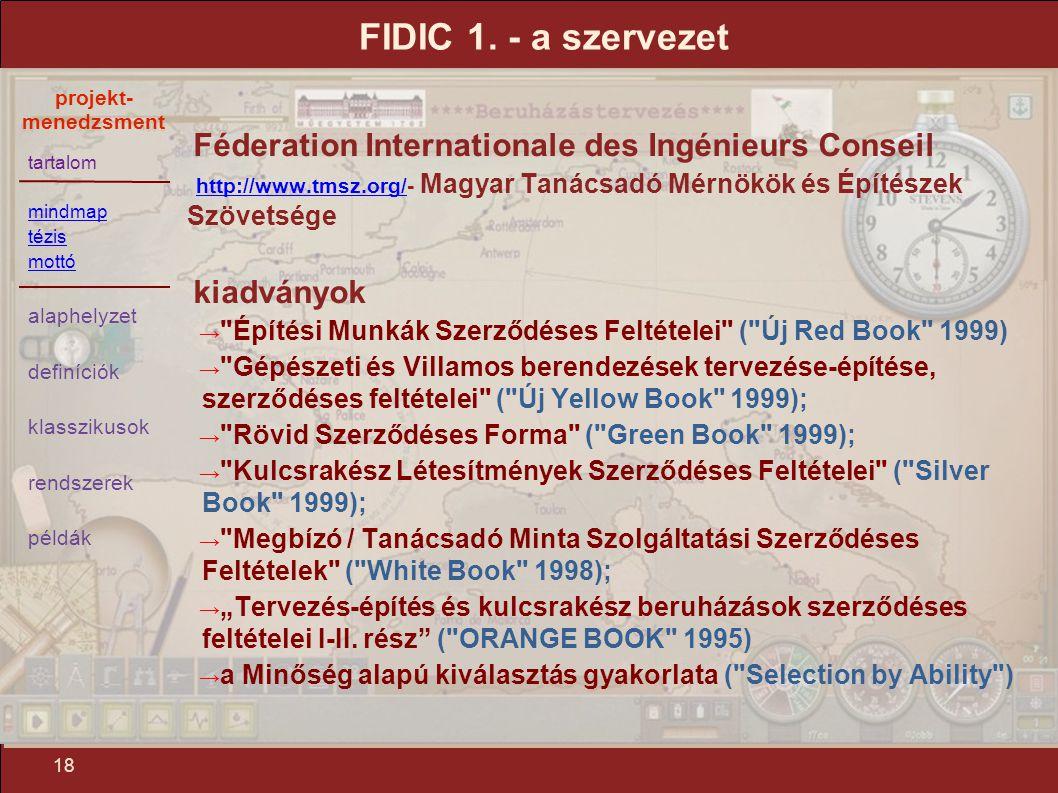 FIDIC 1. - a szervezet Féderation Internationale des Ingénieurs Conseil. http://www.tmsz.org/- Magyar Tanácsadó Mérnökök és Építészek Szövetsége.