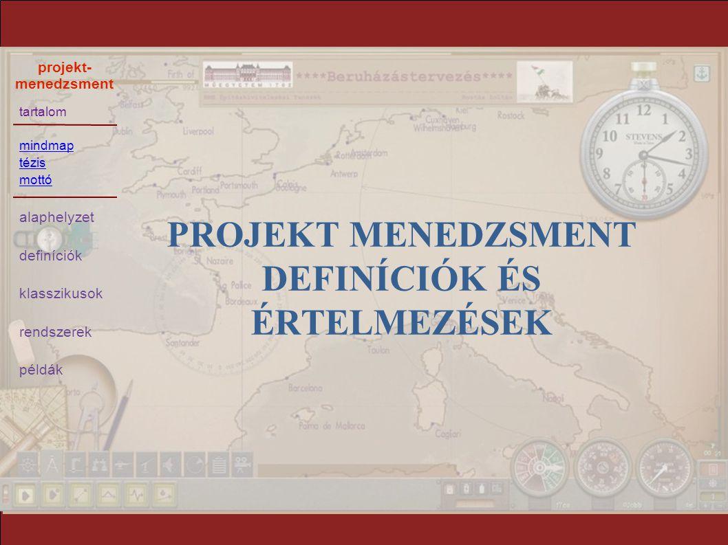 Projekt menedzsment definíciók és értelmezések