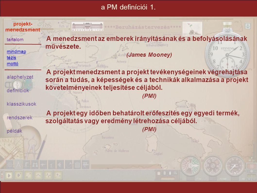 a PM definíciói 1. A menedzsment az emberek irányításának és a befolyásolásának művészete. (James Mooney)