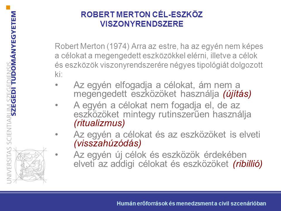 ROBERT MERTON CÉL-ESZKÖZ VISZONYRENDSZERE