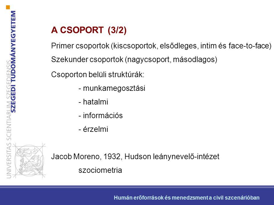A CSOPORT (3/2) Primer csoportok (kiscsoportok, elsődleges, intim és face-to-face) Szekunder csoportok (nagycsoport, másodlagos)