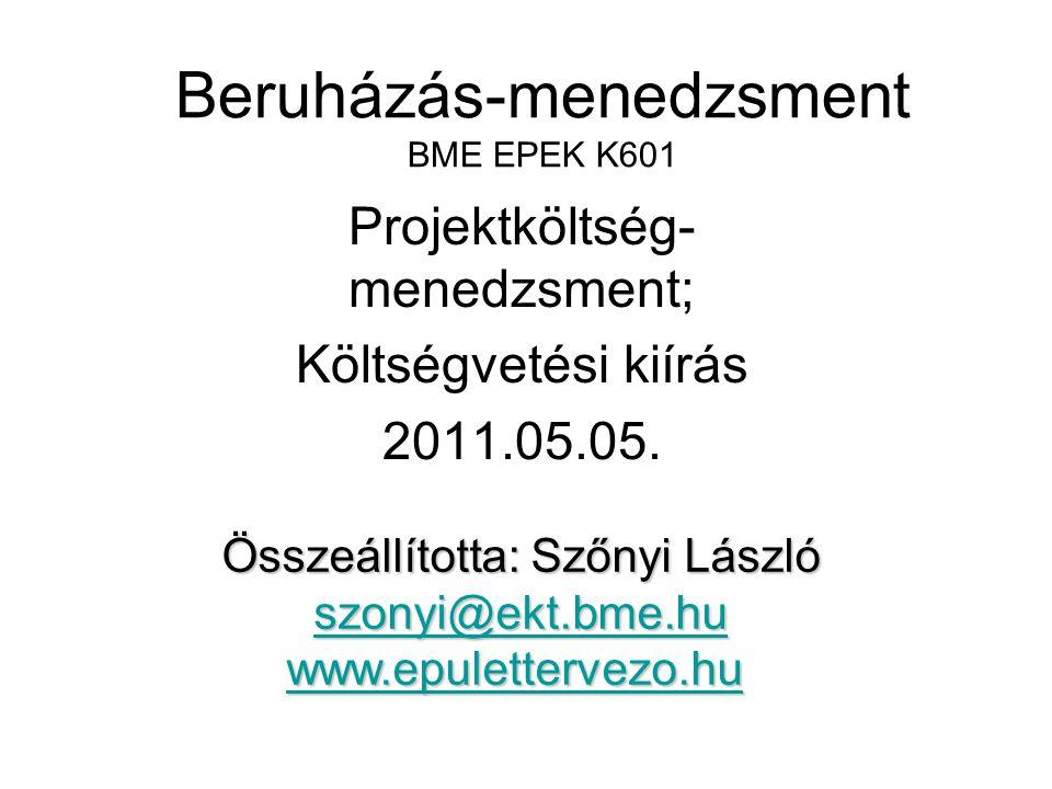 Beruházás-menedzsment BME EPEK K601