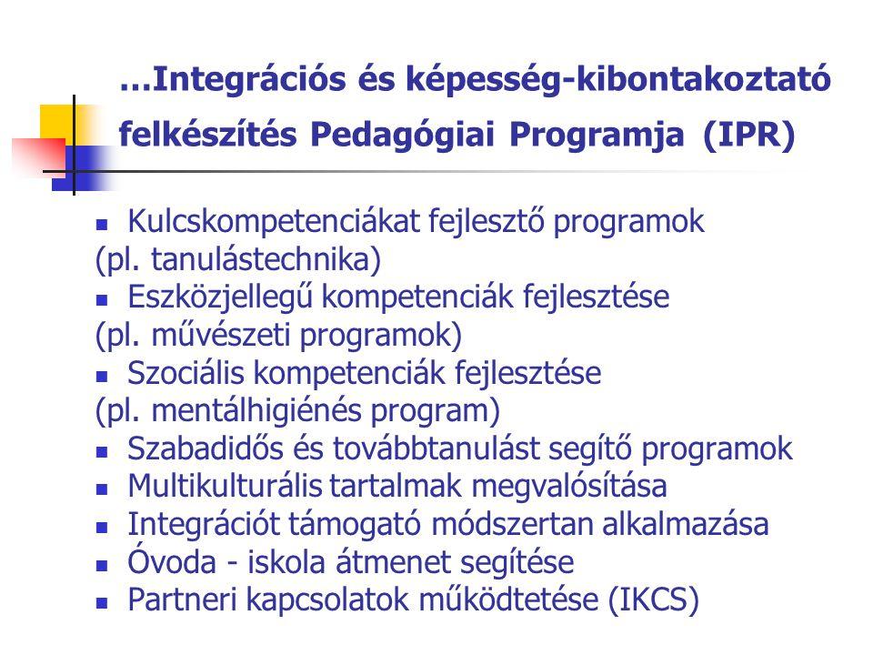 …Integrációs és képesség-kibontakoztató felkészítés Pedagógiai Programja (IPR)