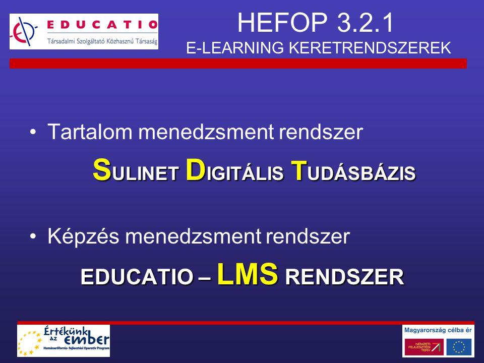 HEFOP 3.2.1 E-LEARNING KERETRENDSZEREK