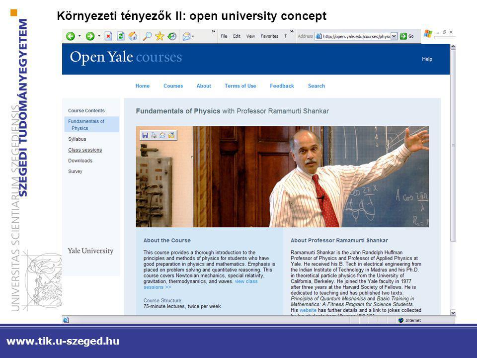Környezeti tényezők II: open university concept