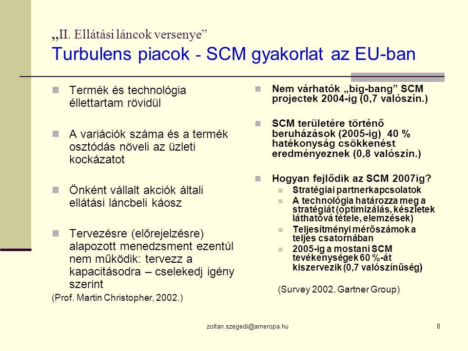 """""""II. Ellátási láncok versenye Turbulens piacok - SCM gyakorlat az EU-ban"""