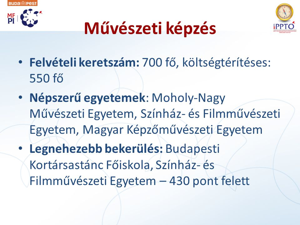 Művészeti képzés Felvételi keretszám: 700 fő, költségtérítéses: 550 fő