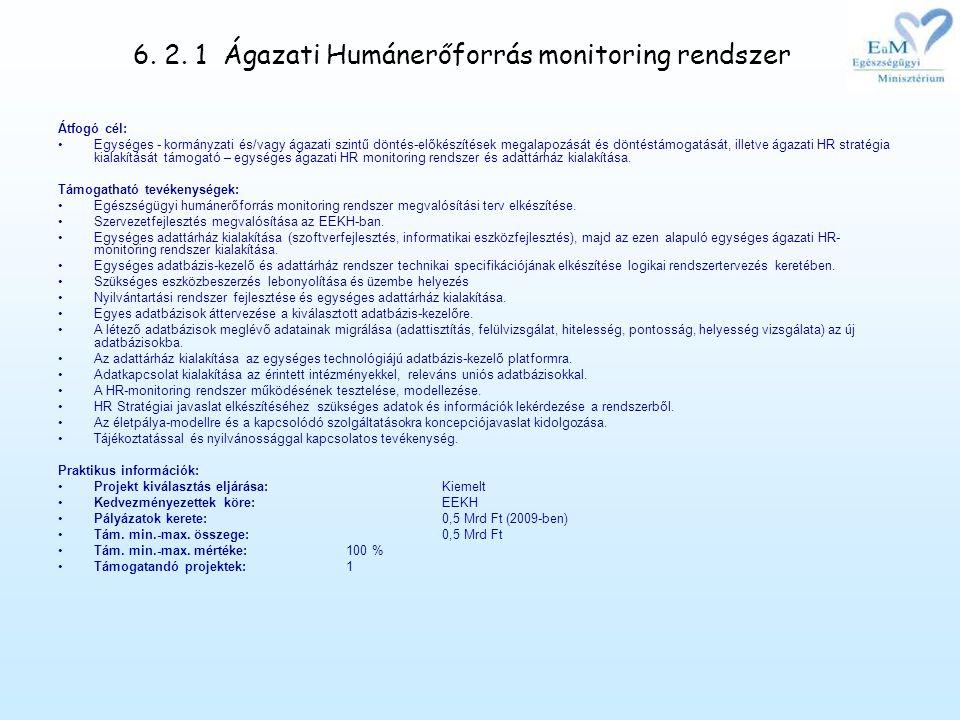 6. 2. 1 Ágazati Humánerőforrás monitoring rendszer