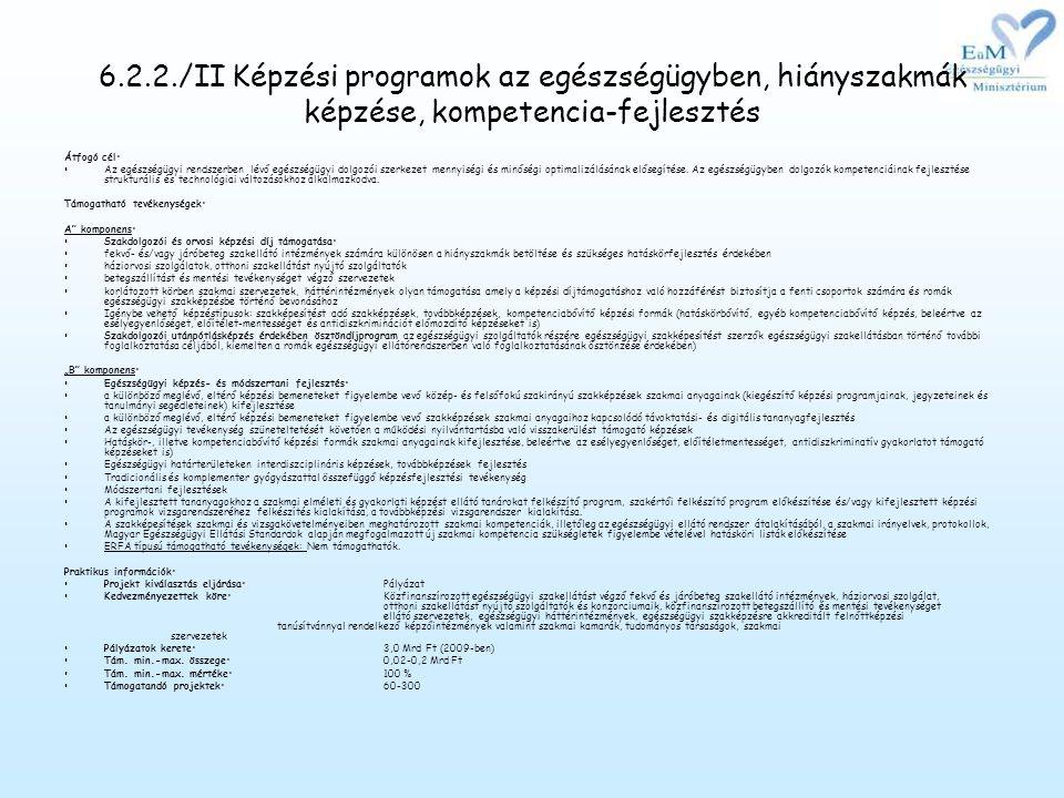 6.2.2./II Képzési programok az egészségügyben, hiányszakmák képzése, kompetencia-fejlesztés