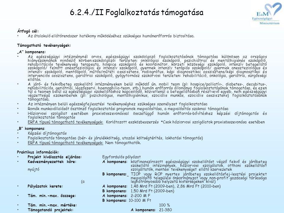 6.2.4./II Foglalkoztatás támogatása