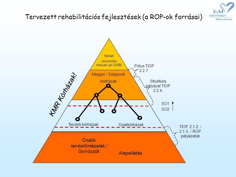 Tervezett rehabilitációs fejlesztések (a ROP-ok forrásai)