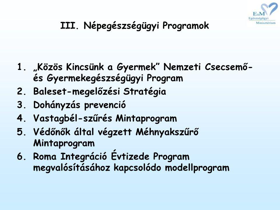 III. Népegészségügyi Programok