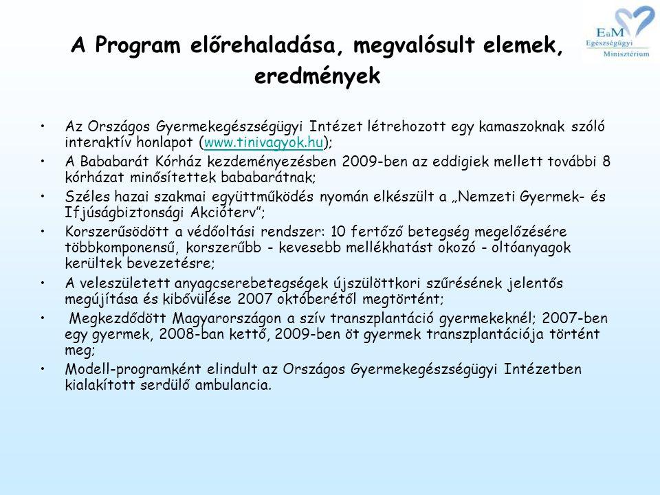 A Program előrehaladása, megvalósult elemek, eredmények