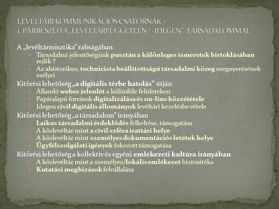 LEVÉLTÁRI KOMMUNIKÁCIÓS CSATORNÁK – 1
