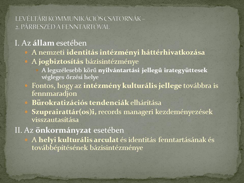 LEVÉLTÁRI KOMMUNIKÁCIÓS CSATORNÁK – 2. PÁRBESZÉD A FENNTARTÓVAL