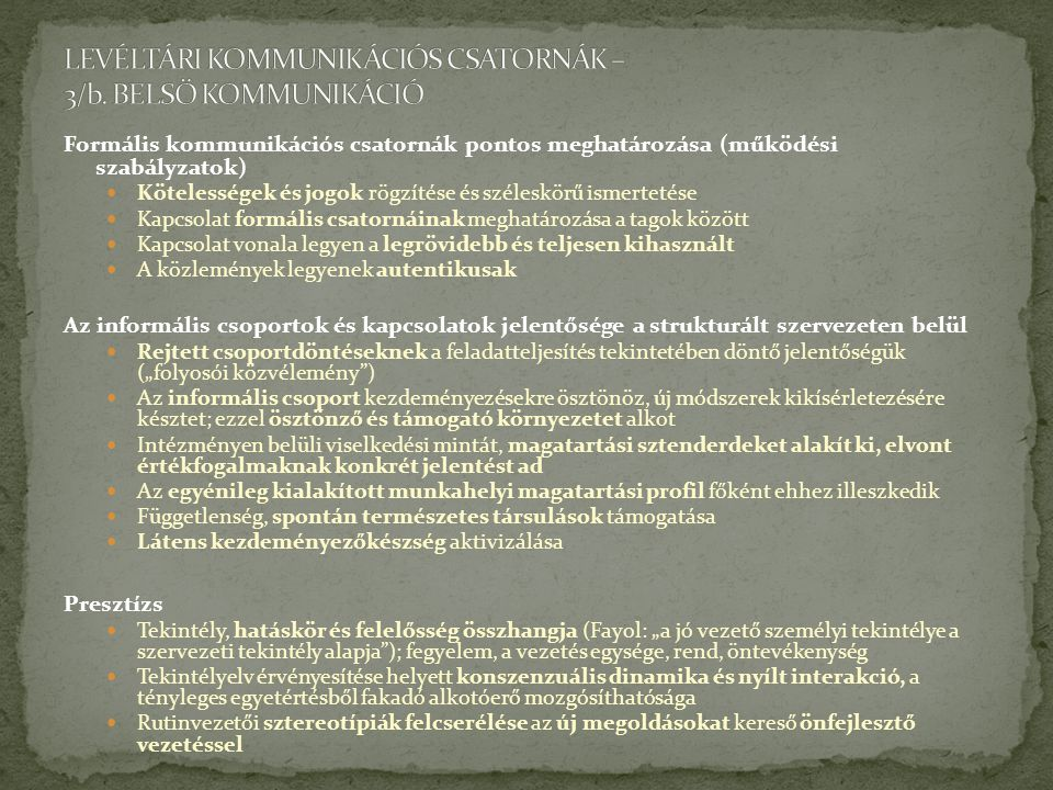 LEVÉLTÁRI KOMMUNIKÁCIÓS CSATORNÁK – 3/b. BELSŐ KOMMUNIKÁCIÓ
