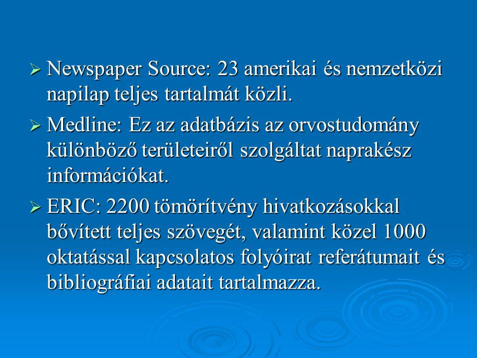 Newspaper Source: 23 amerikai és nemzetközi napilap teljes tartalmát közli.