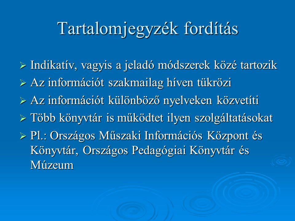 Tartalomjegyzék fordítás