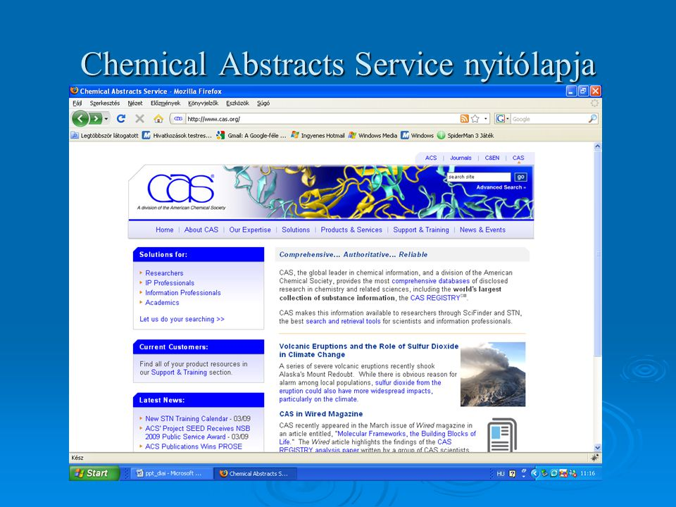 Chemical Abstracts Service nyitólapja