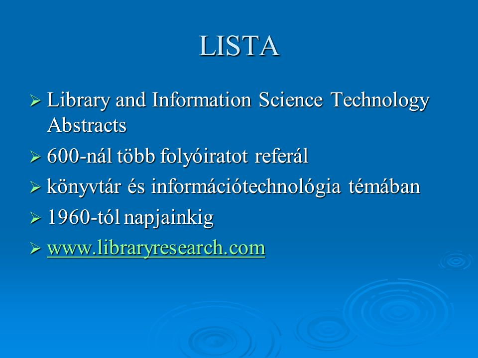 LISTA Library and Information Science Technology Abstracts