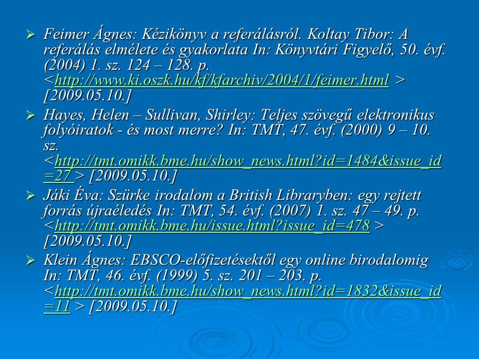 Feimer Ágnes: Kézikönyv a referálásról