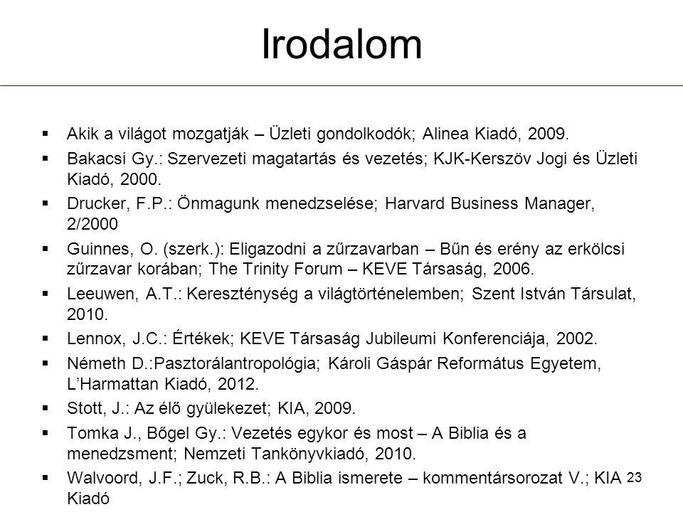 Irodalom Akik a világot mozgatják – Üzleti gondolkodók; Alinea Kiadó, 2009.