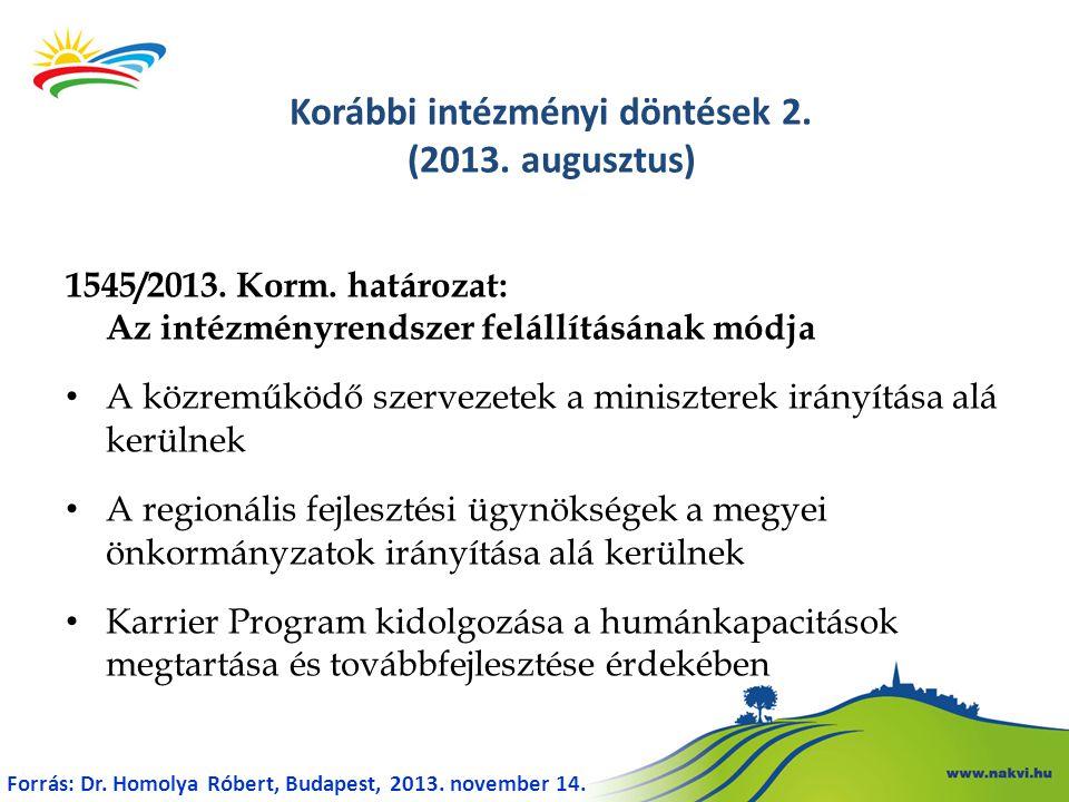 Korábbi intézményi döntések 2. (2013. augusztus)