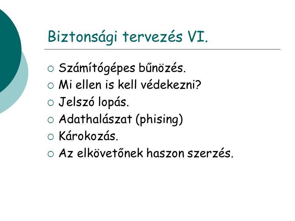 Biztonsági tervezés VI.