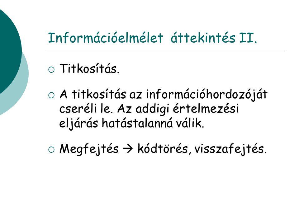 Információelmélet áttekintés II.