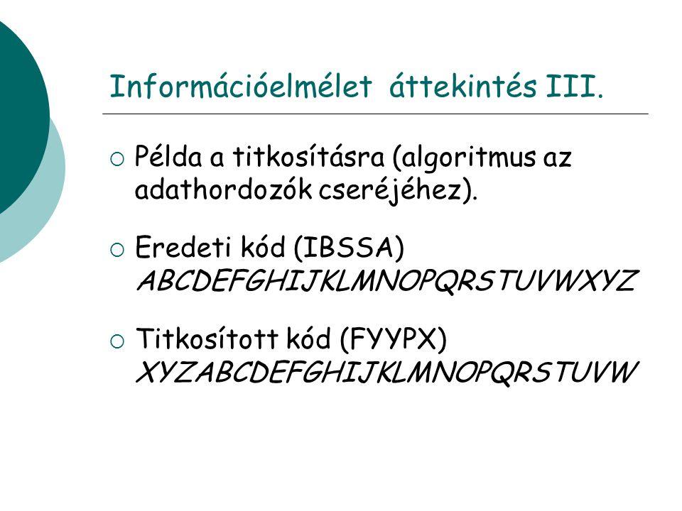 Információelmélet áttekintés III.