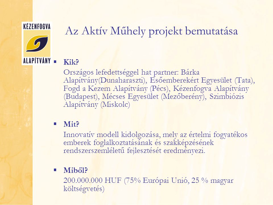 Az Aktív Műhely projekt bemutatása