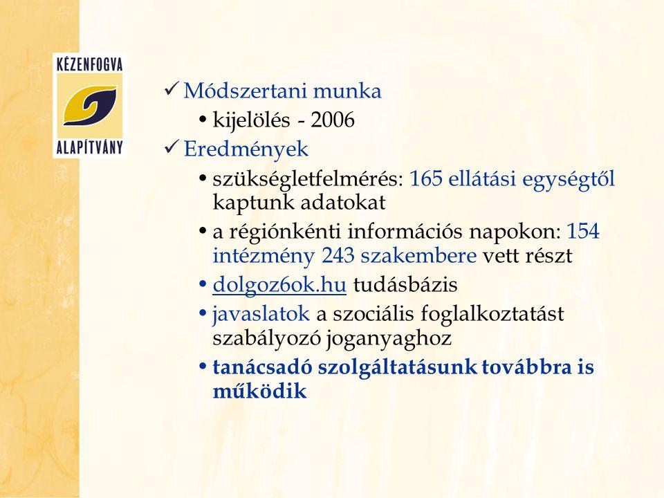 Módszertani munka kijelölés - 2006. Eredmények. szükségletfelmérés: 165 ellátási egységtől kaptunk adatokat.