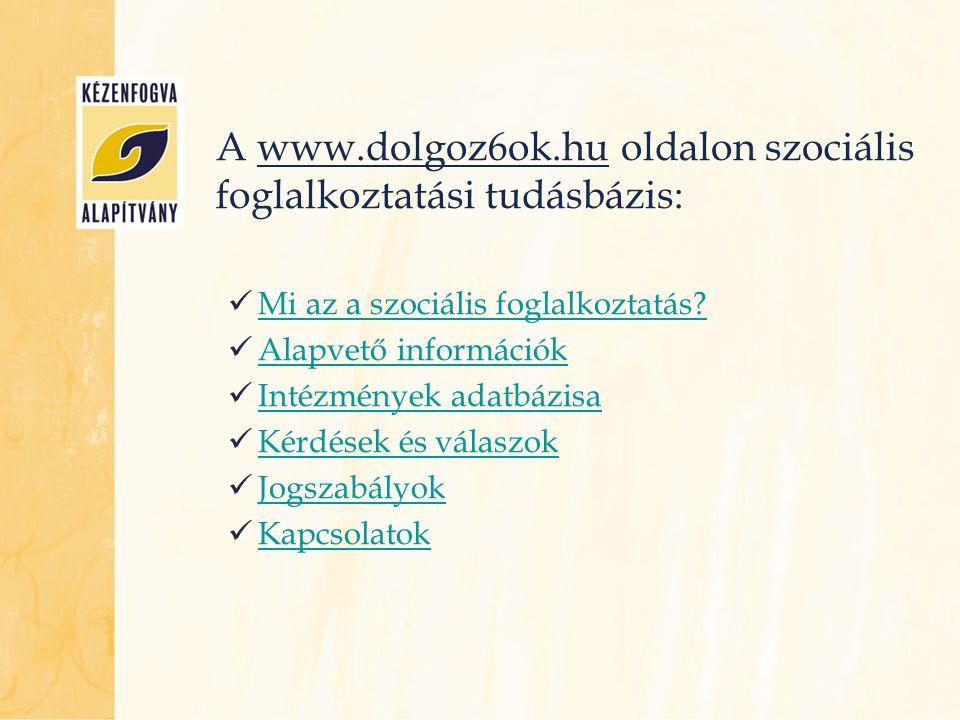 A www.dolgoz6ok.hu oldalon szociális foglalkoztatási tudásbázis: